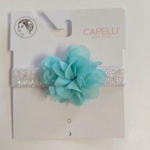 *3/$20* Capelli baby girl headband silver teal